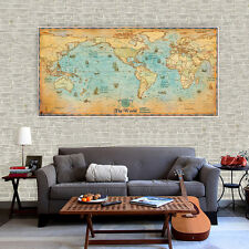 """Huge Silk Canvas poster Pirate Navigation Geography Vintage World Map 48x24"""" S60"""