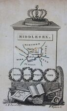 Scarce original antique map ENGLAND, MIDDLESEX, LONDON, Perrot,1823
