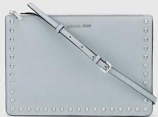 Michael Kors Ava Stud Convertible Leather Crossbody Bag Clutch Dusty Blue NWT