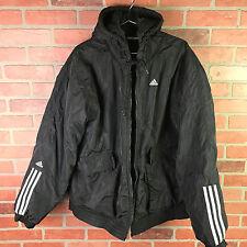 Vtg.Adidas Mens Black Puffer Zip-Up HoodieTrack Windbreaker Sport Jacket