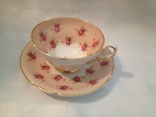 Vintage Stanley Bone China Tea Cup Saucer Light Pink Purple Pink Flowers