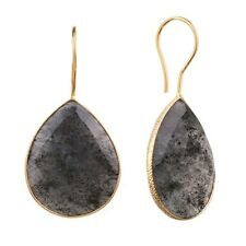 18K Gold Plated Vermeil Earrings Blue Onyx Colored Quartz Pear Drop Earring Pair
