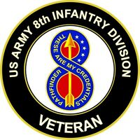 "Army 8th Infantry Division Veteran 5.5"" Unit Crest Sticker 'Officially Licensed'"