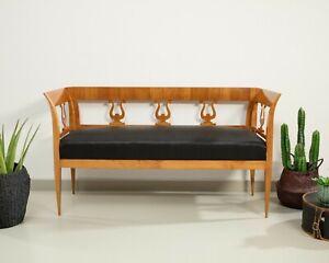 Sofa, Kirschbaum massiv und furniert, im Biedermeier Stil, Deutsch um 1900