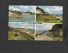 Salmon multi View Colour Postcard Felixstowe West End Gardens-Promenade-Posted