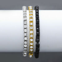 18k Yellow Gold Filled Simulated Clear CZ Iced Out Tennis Chain HipHop Bracelet