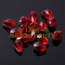 New 50pcs 7X5mm Teardrop Faceted Crystal Glass Spacer Loose Beads Deep Red