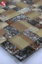Pâte de verre mosaïque en Effet fissuré brun clair / Foncé Beige Neuf