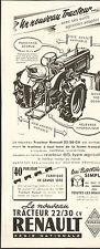 NOUVEAU TRACTEUR RENAULT 22 / 30 CV PUBLICITE 1950