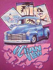Vintage Ocean View Rat Rod Hot Bikini Pinup Paradise Surfing Beach T Shirt L