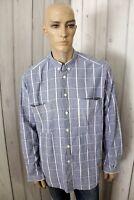 ARMANI JEANS Uomo Shirt Blu Casual Cotone Manica Lunga Chemise Taglia XL
