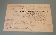 1885 Gummey Spering Ingram Tin Plate Dealer Billhead Philadelphia PA Zinc Copper