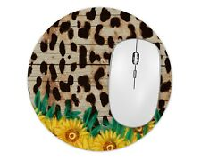 Leopard Sunflower Round Mouse Pad Mice Mat For Laptop Notebook Computer Gaming