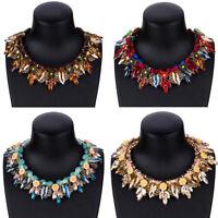 Fashion Women Crystal Flowers Pendant Choker Chunky Statement Chain Bib Necklace