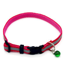 1pcs Small Dog Cat Collar Neck Adjustable Collar With Bell Pink One Size