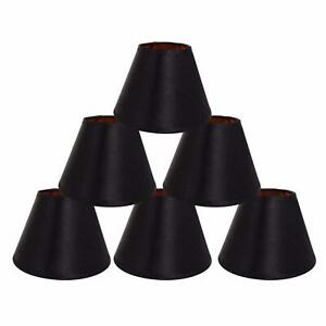 Set of 6 Black LampShades w/ Gold Lining Clip on light shades Candle Chandelier