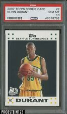 2007-08 Topps #2 Kevin Durant Seattle Supersonics RC Rookie PSA 10 GEM MINT
