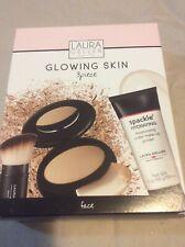 Laura Geller 3 Piece Glowing Skin Set Primer Foundation Kabuki Brush Medium