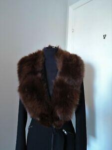 Vintage brown real blue fox fur collar scarf wrap trim shawl for coat furscarf