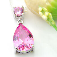 Drop Shaped Romantic Pink Fire Topaz Gems Silver Necklace Pendant With Chain