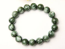 Natural Green Seraphinite Crystal Round Beads Charming Bracelet 11mm AAA