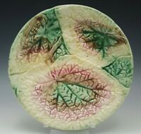 """VICTORIAN MAJOLICA ETRUSCAN POND LEAF PLATE. 8 1/2"""". BROWN YELLOW PINK"""