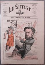 EMILE GABORIAU CORDE au COU CARICATURE  DEMARE JOURNAL SATIRIQUE LE SIFFLET 1872