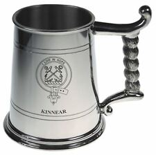 Kinnear Crest Tankard with Rope Handle in Polished Pewter 1 Pint Capacity