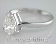 Diamond Pear Shape Solitaire Platinum Engagement Ring Certified D IF 1.50ct