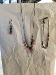 Avon Red Necklace & Earrings & Bracelet  3-Piece Set Shimmer
