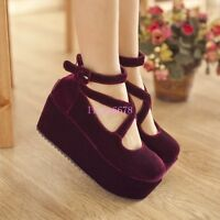 Womens Mid Platform Wedge Heel Creepers Cross Strap Mary Janes Velvet Round Toe