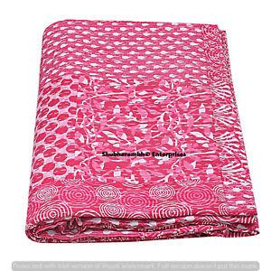 Pink Indigo Patchwork Twin Cotton Kantha Quilt Handmade Hippie Throw Blanket