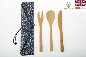 Bamboo Cutlery Set Spoon Fork Knife w/ Bag Wooden Eco Friendly Reusable Natural