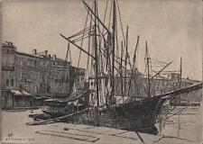 Edgar F Fincham grabado al Aguafuerte St Tropez Harbour Francia 1951