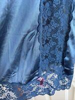 Vtg Ladies Half Slip Lace Nylon Sissy Navy Blue Pretty Lace 24 Inches