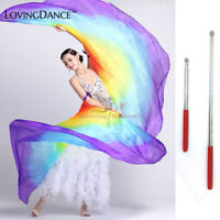 100% Silk Belly Dance isis Wings Scarf Viel Fan & Telescopic Stick Free Shipping