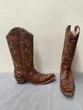 Circle G Distressed Brown Leather Snip Toe Cowboy Boots Size 10M Style L5063 FS
