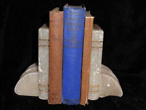 Vintage Nigel Owen Carved Alabaster Book Book Ends