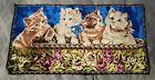 "Vintage Kittens CATS Tapestry Blue Velvet Wall Hanging Rug 37""x19.7.5"""