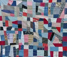 1880s CLASSIC RED, WHITE & BLUE CRAZY VINTAGE ANTIQUE QUILT TOP: SCREAMS COUNTRY