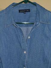 Jones New York Denim Shirt MEDIUM Womens 10-12 Top Pleated Blouse 5m29
