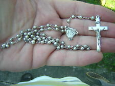 Beautiful Vintage Silver Bead Sterling Silver Cross Rosary