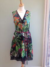 DRESS SIZE 14 BY RENE DERHY PARROT MONKEY TROPICAL PRINT MULTI ROPE BELT BNWT