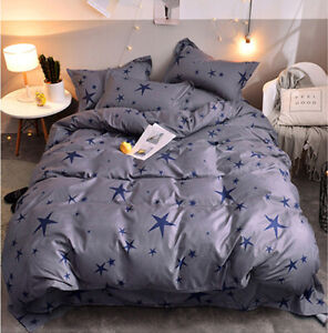 Stars Grey Comfort Bedding Set Duvet Quilt Cover+Sheet+Pillow Case Four-Piece