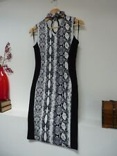 Ladies Lovely Quiz Black & White Snakeprint BodyCon Party Dress Size 10, Vvgc