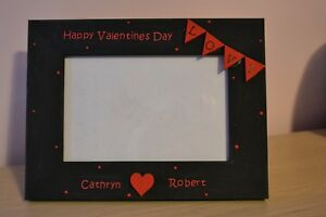 """Personalised handmade photo frame Happy valentines day - couples love gift 6x4"""""""
