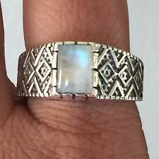 Natural Rainbow Moonstone 925 Solid Sterling Silver Art Deco Men's Ring 10