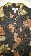 Black Hawaiian SILK Floral Island Shores MENS Button Up Camp Shirt Sz Large HOT