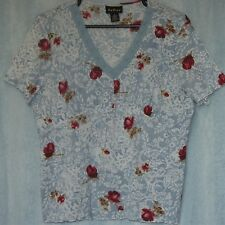 Katies Women's Stretch Top, Womens Size 18 Blouse, Lace Look Fabric, Red Roses