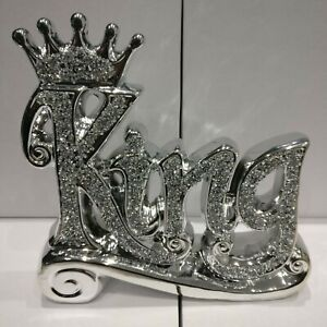 Crushed Crystal Diamond Silver Bling King Crown Sign Ornament Shelf Sitter